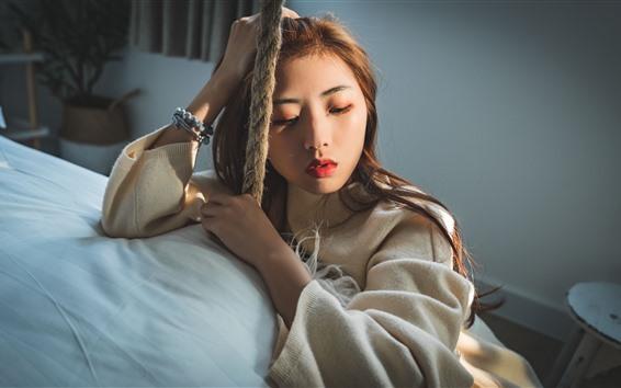 壁紙 若い女の子、ベッド、ロープ