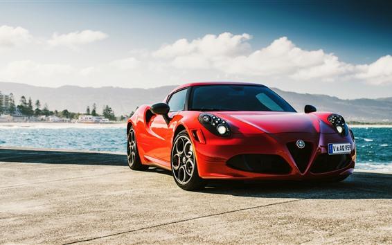 Fondos de pantalla Alfa Romeo 4C coche deportivo rojo vista frontal, mar