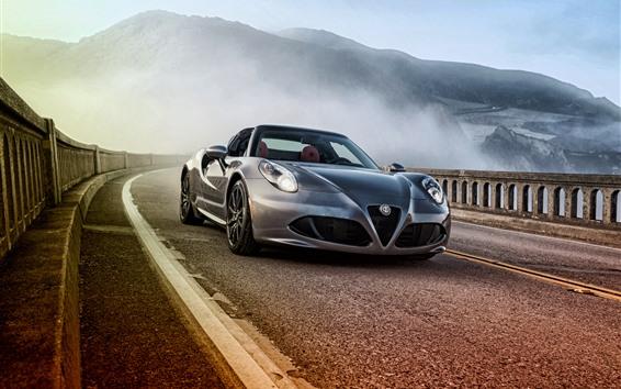 Fondos de pantalla Vista frontal del coche deportivo Alfa Romeo 4C plateado