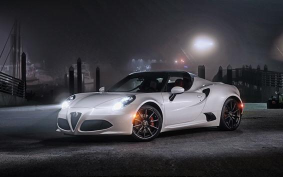 Papéis de Parede Alfa Romeo 4C carro esporte branco à noite, faróis