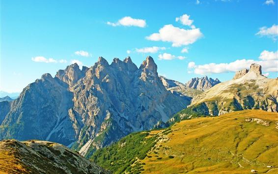 壁紙 アルプス、イタリア、山、岩、空、雲