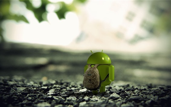 Wallpaper Android robot, backpack, travel, rocks