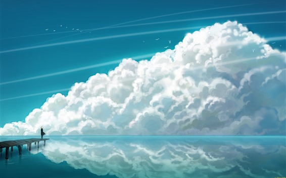 Wallpaper Art painting, sea, clouds, water reflection, birds, pier