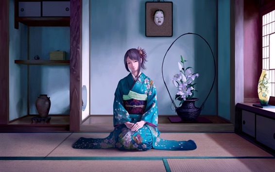 Wallpaper Beautiful Japanese anime girl, blue kimono, room