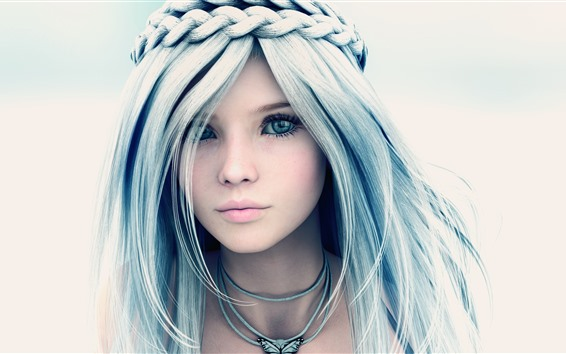 Wallpaper Beautiful fantasy girl, blue eyes, braids