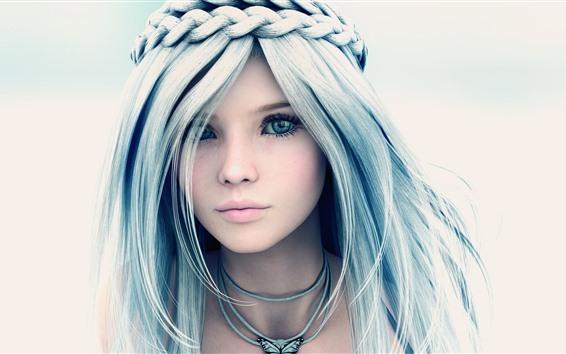 Fond d'écran Belle fille fantastique, yeux bleus, tresses