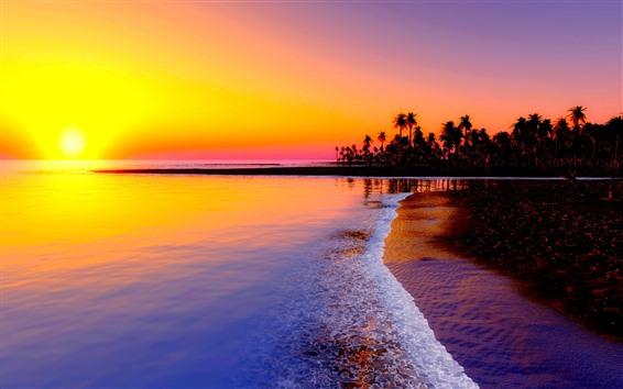 Fond d'écran Beau coucher de soleil, mer, vagues, plage, palmiers, soleil