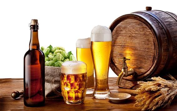 Обои Пиво, пена, бутылка, хмель