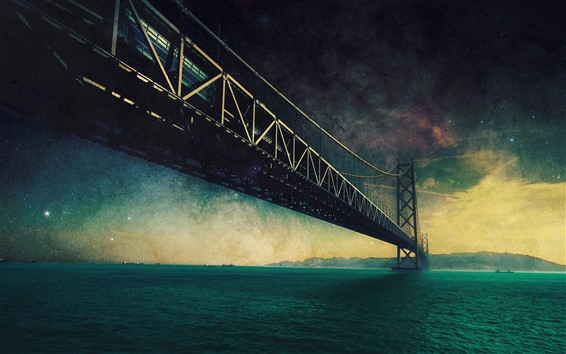 Fond d'écran Pont, mer, étoiles, étoilé, brouillard