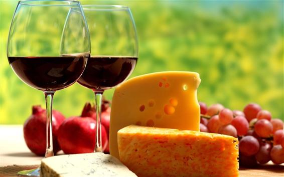 배경 화면 치즈, 와인 2 컵, 포도