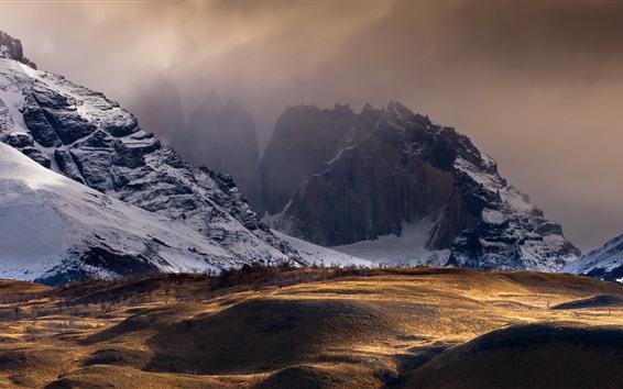 Обои Чили, горы, снег, сумерки, природа пейзаж