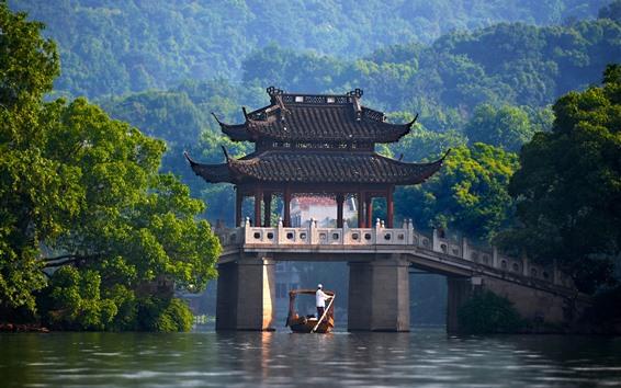 Fondos de pantalla China, pabellón, puente, río, árboles verdes