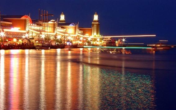Fondos de pantalla Costa, mar, barcos, noche, luces