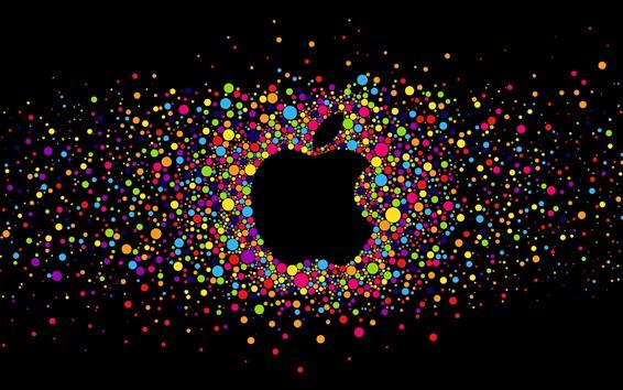Обои Разноцветные круги, логотип Apple, черный фон