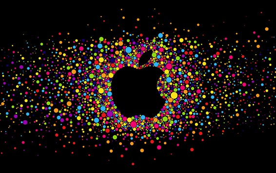 Wallpaper Colorful circles, Apple logo, black background