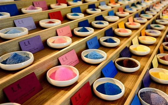Papéis de Parede Pó colorido, prato, escadas