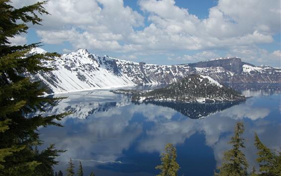 Обои Кратерное озеро, национальный парк, остров, деревья, снег, горы