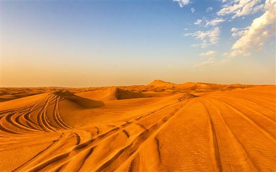 Wallpaper Desert, sands, sky, clouds, hot