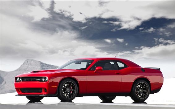 Wallpaper Dodge classic sport car, red color
