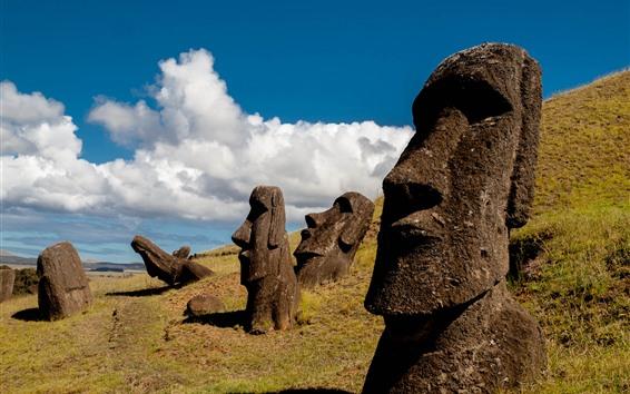 Fond d'écran Île de Pâques, Moai Statue, Chili