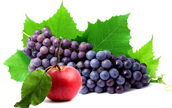 Wallpaper Fresh grapes and red apple, white background