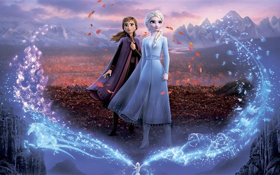 Wallpaper Frozen 2, Disney movie, sisters