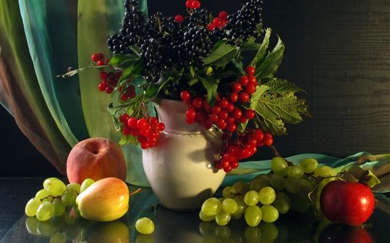 Wallpaper Fruit, berries, grapes, apple, peach, still life