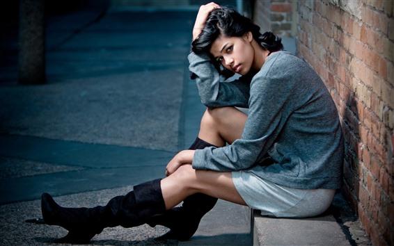 Wallpaper Girl sit at street side, look, pose