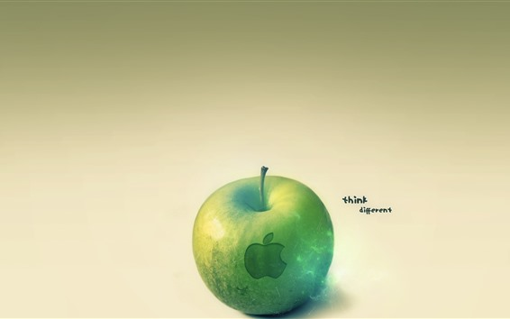 Fond d'écran Pomme verte, logo Apple, pensez différemment