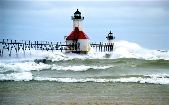 Wallpaper Lighthouse, sea, waves, jetty