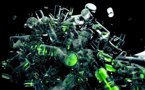 Papéis de Parede Explosão de muitas garrafas, vidro, imagem criativa