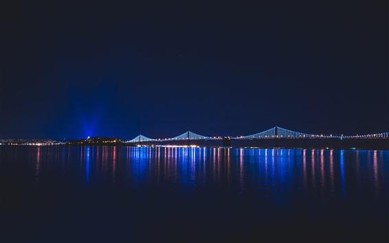 Wallpaper Night, river, lights, city