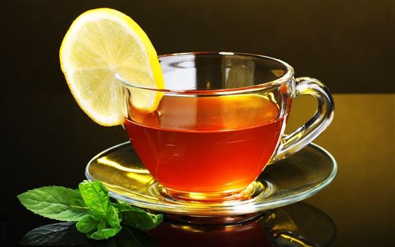 Wallpaper One cup tea, lemon slice, mint