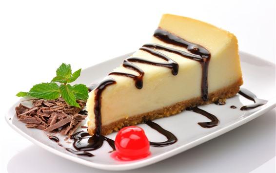 Papéis de Parede Uma fatia de cheesecake, bolo, sobremesa, chocolate