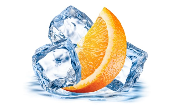 Wallpaper Orange slice, ice cubes, white background