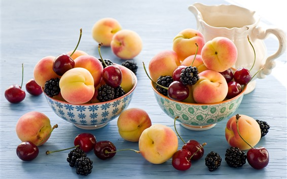 Wallpaper Peaches, cherries, blackberries