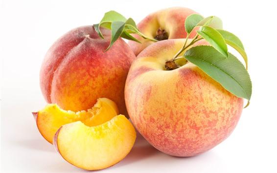 Wallpaper Peaches, slice, white background, fruit