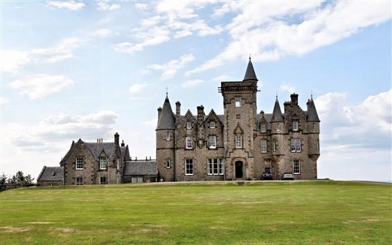 Обои Шотландия, замок Гленгорм, Тобермори, луг, небо, облака