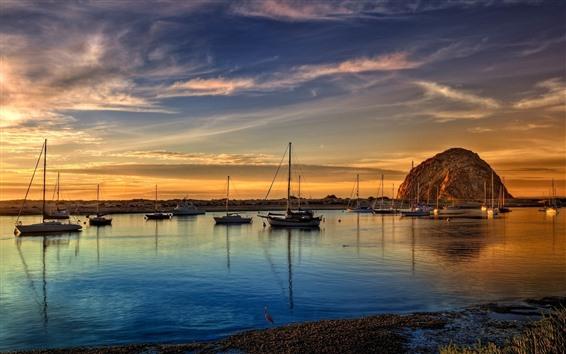 Fondos de pantalla Mar, costa, barcos, rocas