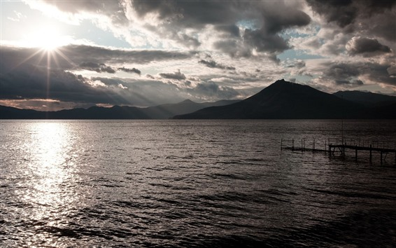 Wallpaper Sea, mountains, sun rays, marina, morning