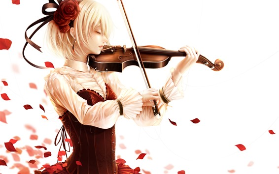 Wallpaper Short hair blonde girl, play violin, rose petals, anime