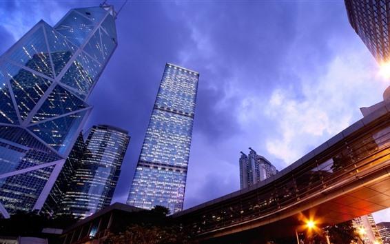 Wallpaper Skyscrapers, lights, dusk, Hong Kong