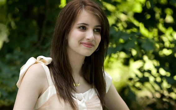 Wallpaper Smile girl, brown hair, green background