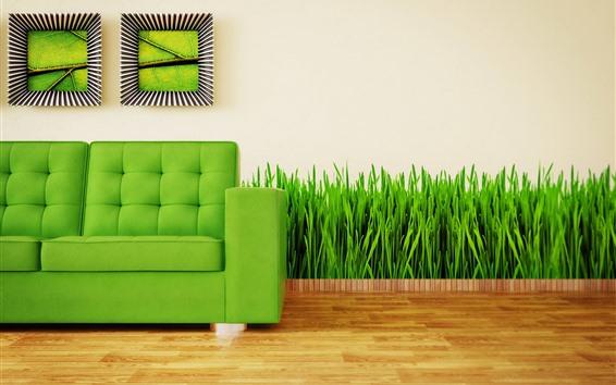 Обои Диван, трава, зеленый, креативный дизайн