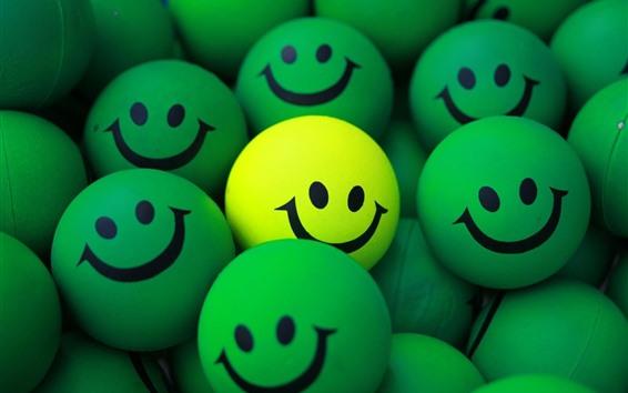 Fond d'écran Des boules vertes, un visage souriant, un jaune