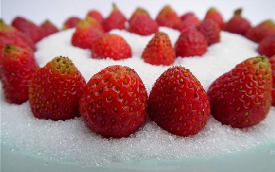 Wallpaper Strawberries, sugar powder