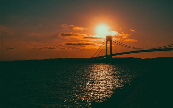 Papéis de Parede Pôr do sol, mar, ponte, brilho, brilho