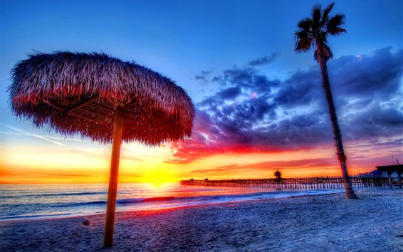 Wallpaper Sunset, sea, coast, beach, dock, gazebo