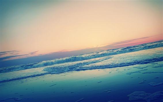 Fond d'écran Coucher de soleil, mer, eau, mousse, plage, horizon