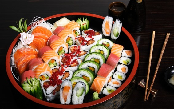 Wallpaper Sushi, food, sticks, Japanese food